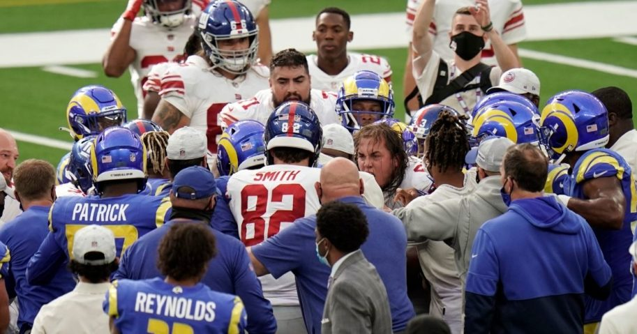 Players from the New York Giants and Los Angeles Rams scuffle at the end of their game Oct. 4, 2020, in Inglewood, California.