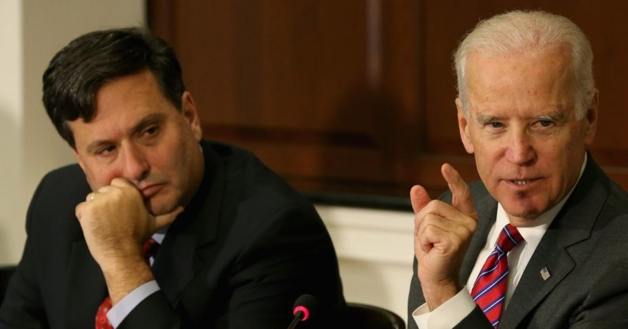 Then-Vice President Joseph Biden, right, joined by Ebola Response Coordinator Ron Klain, speaks during a meeting regarding Ebola at the Eisenhower Executive office building on Nov. 13, 2014, in Washington, D.C.