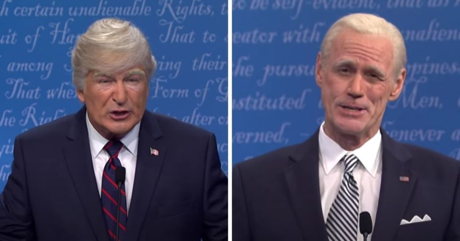 "Alec Baldwin, left, who plays President Donald Trump, and Jim Carey, right, who plays former Vice President Joe Biden, act out a parody of last week's presidential debate on ""Saturday Night Live"" on Saturday."