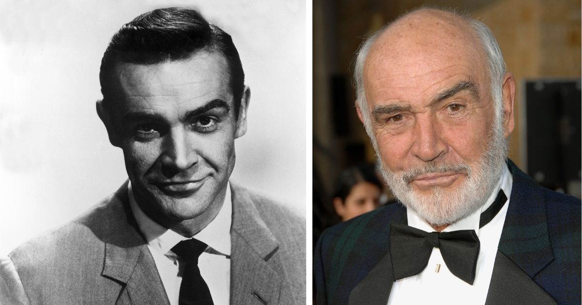 Scottish actor Sean Connery, seen circa 1963 in the photo on the left and in 2007 in the photo on the right, has died.