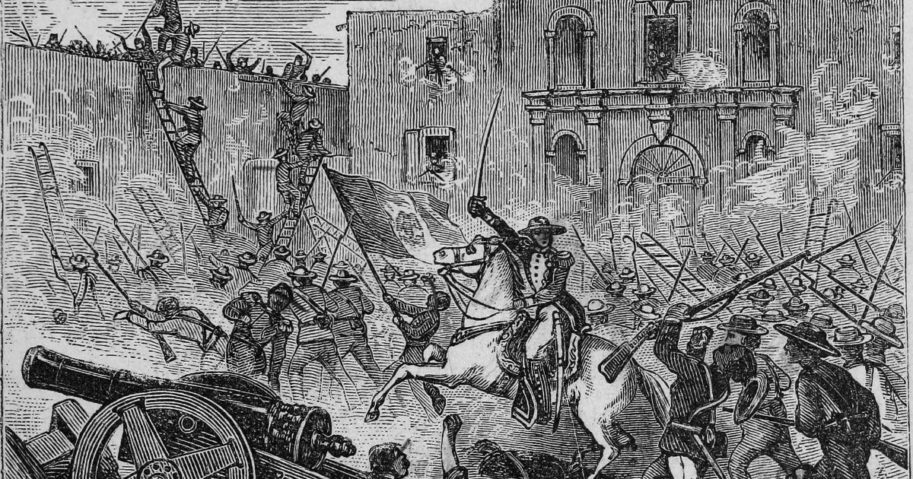 Engraving of the siege of the Alamo