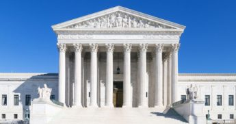 The U.S. Supreme Court building is seen above.