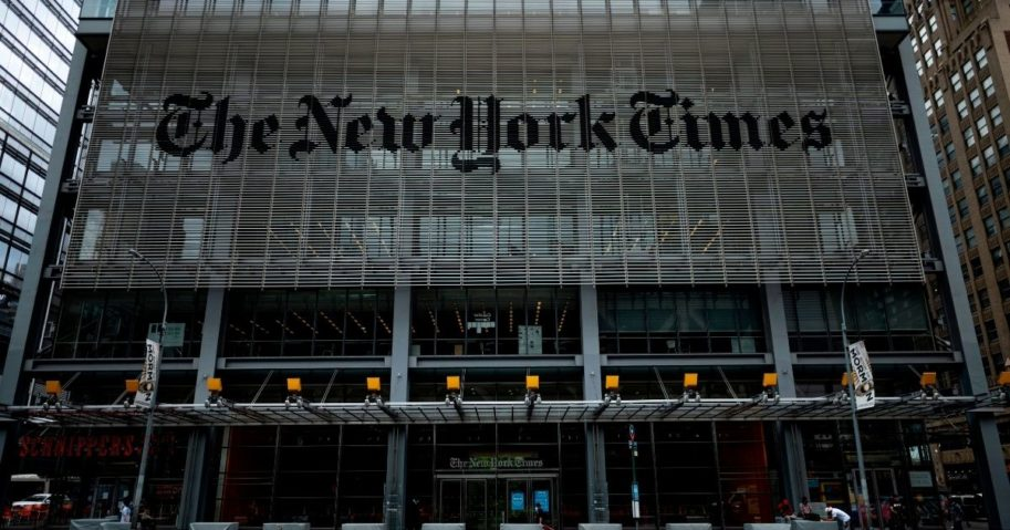 The New York Times building is seen on June 30, 2020, in New York City.