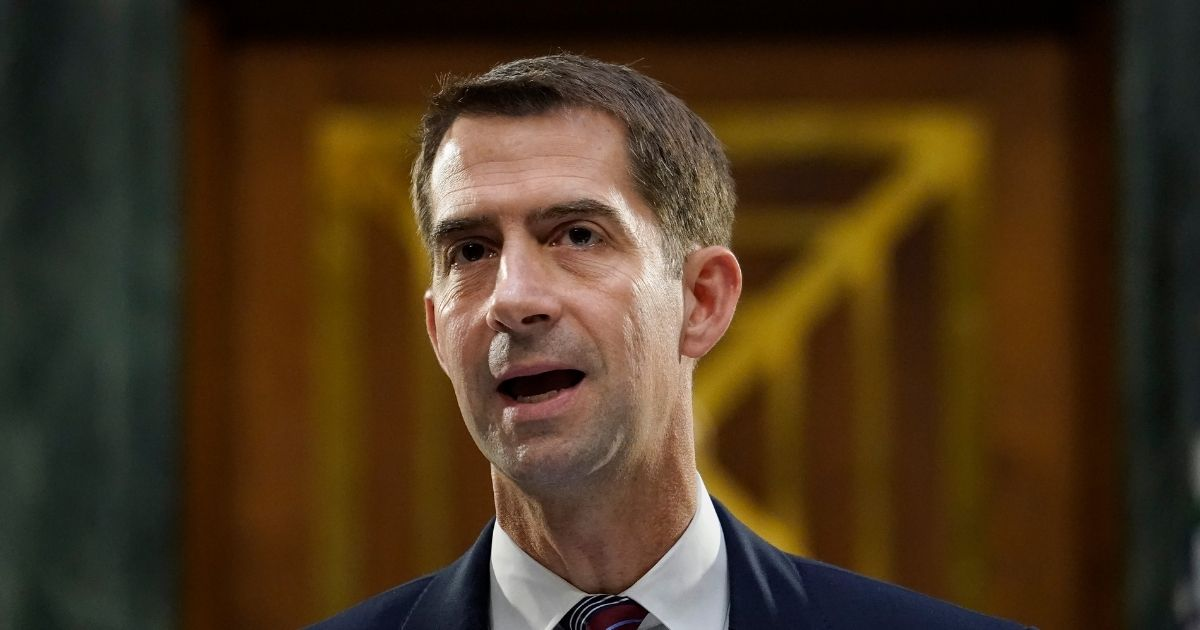 Republican Sen. Tom Cotton of Arkansas questions witnesses during a Senate Banking Committee hearing on Capitol Hill on Sept. 24, 2020, in Washington, D.C.