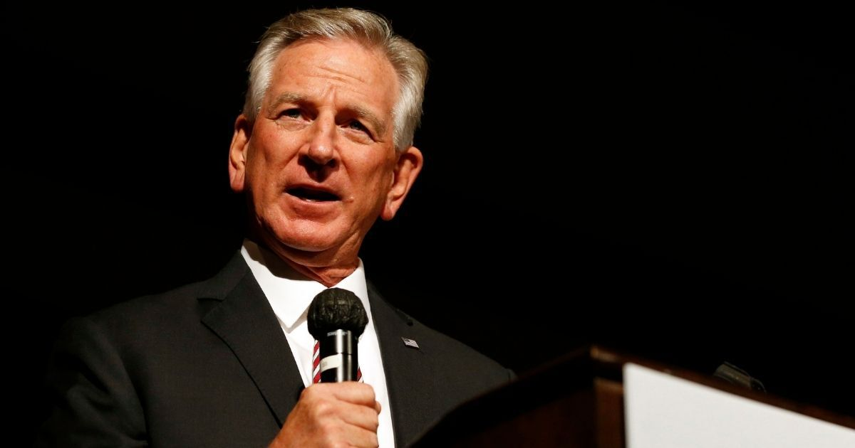 Former Auburn football coach Tommy Tuberville speaks to supporters on July 14 in Montgomery, Alabama.