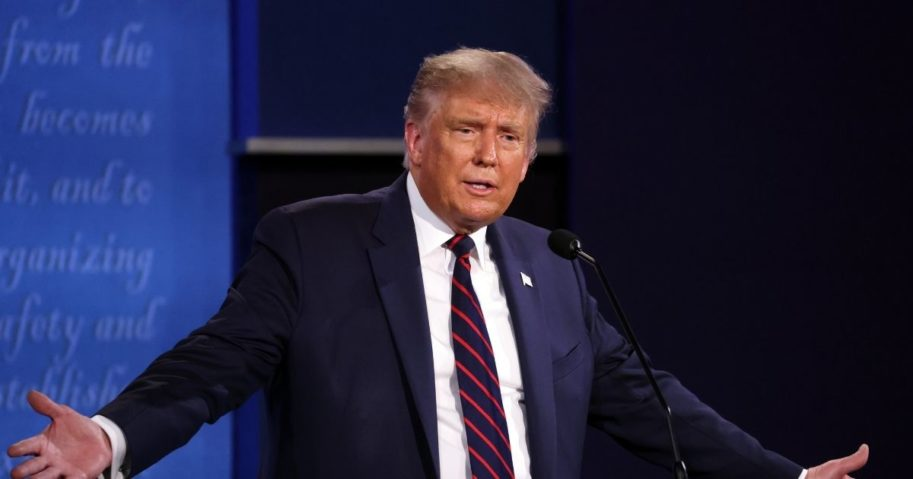 President Donald Trump speaks during the first presidential debate