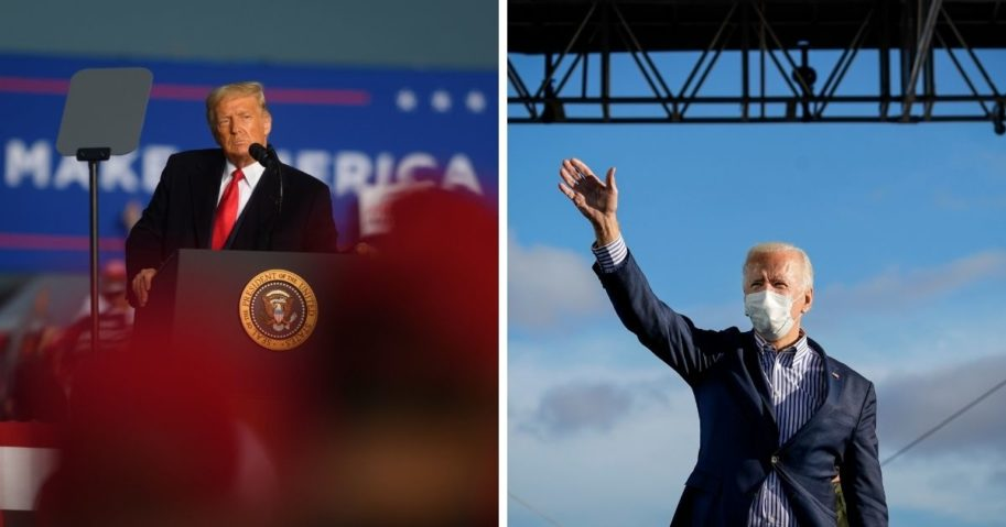 President Donald Trump, left, and Joe Biden, right, are in a virtual tie among Nevada likely voters.