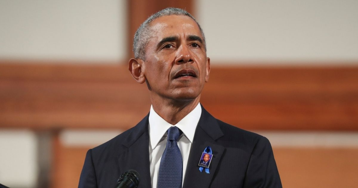 Former President Barack Obama at the July 30 funeral of the late Rep. John Lewis.
