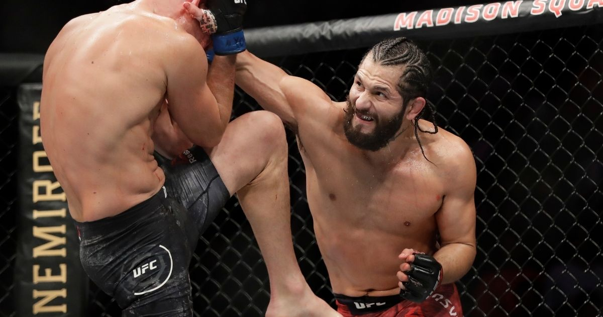 Mixed martial arts fighter Jorge Masvidal launched a strike during a November 2019 Ultimate Fighting Championship bout in New York.