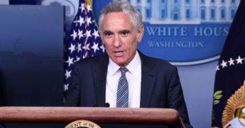 White House coronavirus adviser Dr. Scott Atlas addresses the media during a September news conference.