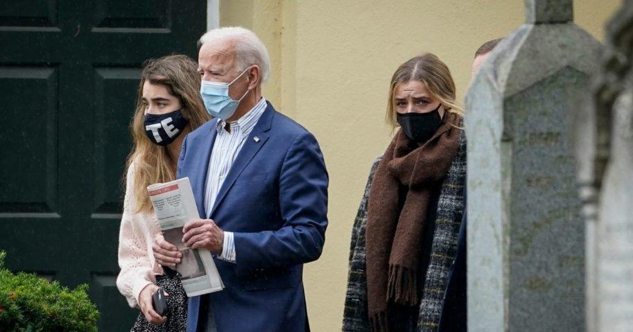 Democratic presidential candidate Joe Biden leaves a Delaware church on Sunday.