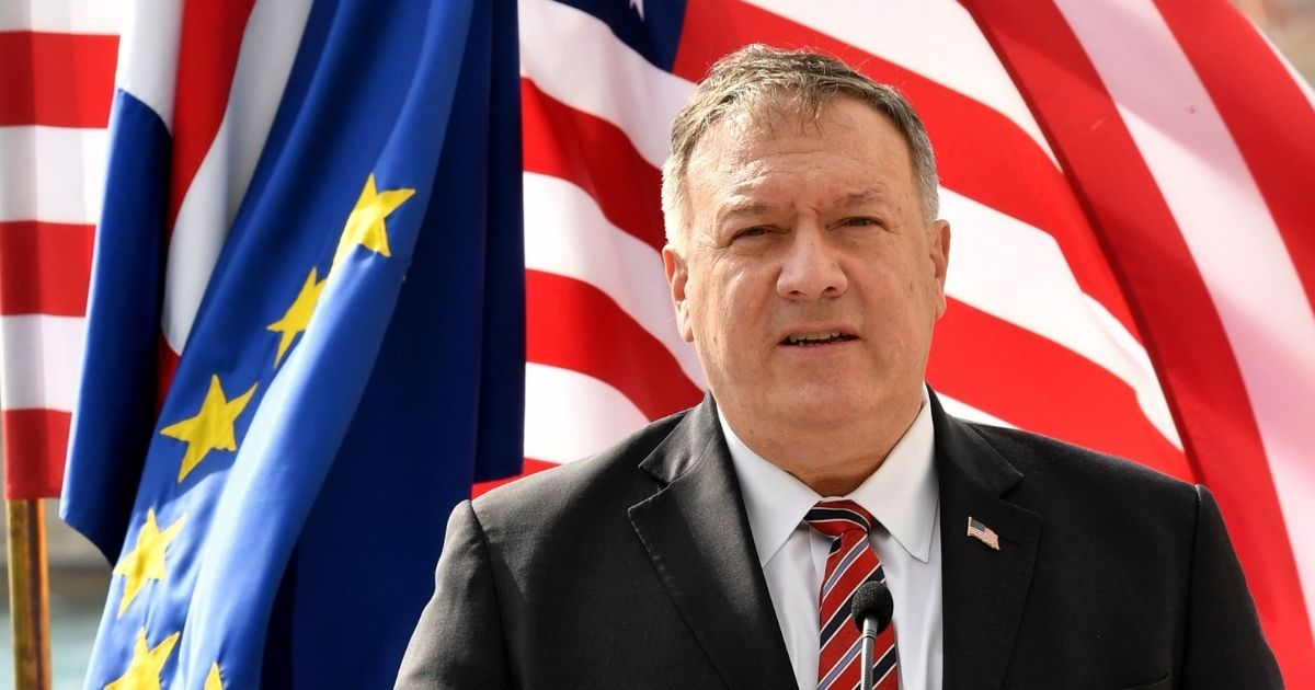 U.S. Secretary of State Mike Pompeo speaks during a joint press conference with Croatia's Prime Minister in Dubrovnik on Oct. 2, 2020, as part of Pompeo's six-day trip to Southern Europe. (Photo by Elvis Barukcic / AFP via Getty Images)