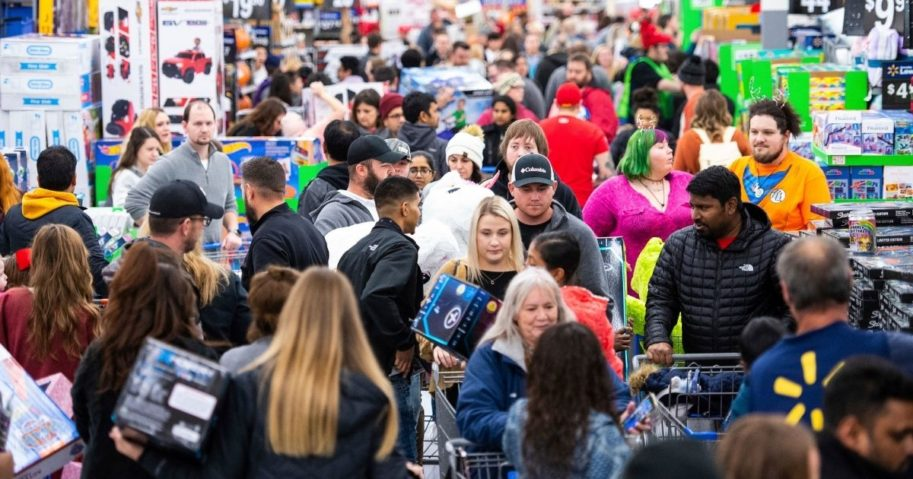 Customers stock up on electronics, toys, apparel and home goods at Walmart's Black Friday store event Nov. 28, 2019, in Bentonville, Arkansas.