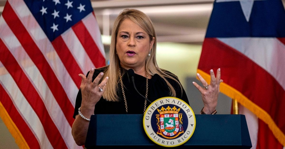 Puerto Rico Gov. Wanda Vazquez Garced speaks during a news conference to announce the strict new rules for all passengers flying into Puerto Rico on June 30, 2020.
