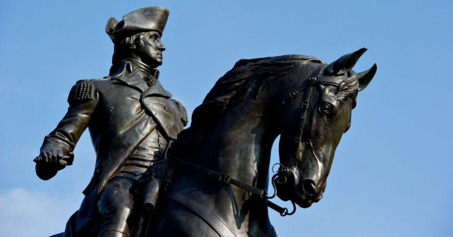 A statue of George Washington is seen in the Public Garden in Boston.