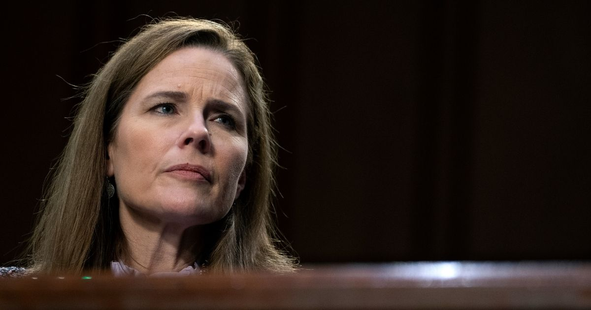 Supreme Court nominee Amy Coney Barrett testifies before the Senate Judiciary Committee on the third day of her confirmation hearings on Capitol Hill on Oct. 14, 2020, in Washington, D.C.