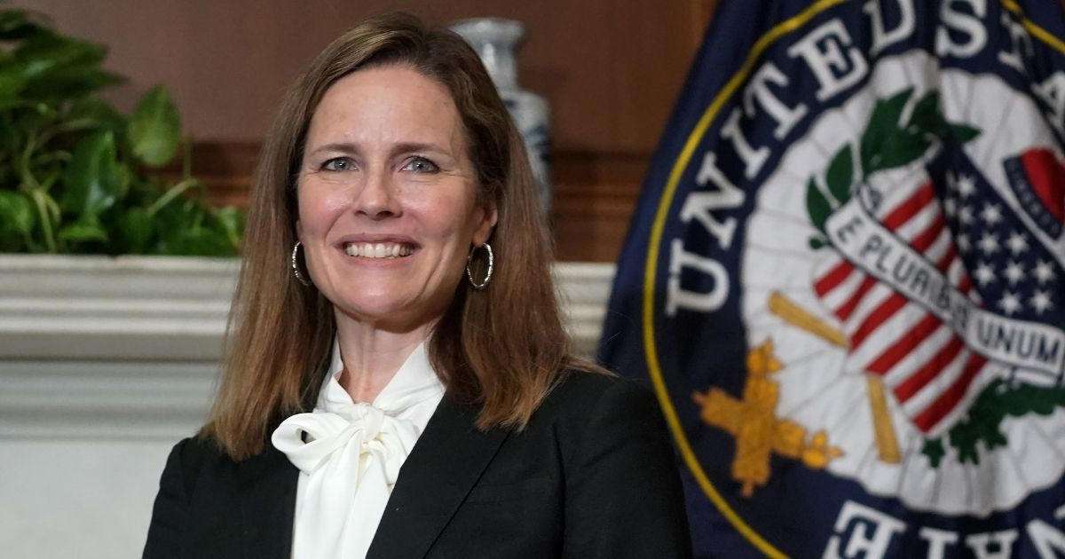 Judge Amy Coney Barrett, President Donald Trump's nominee for the US Supreme Court, meets with lawmakers on Capitol Hill in Washington, D.C., on Oct, 1, 2020.