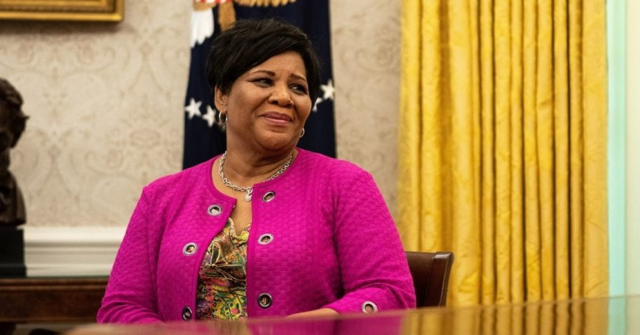 Alice Johnson listens during an event in the Oval Office of the White House on Aug. 28, 2020, in Washington, D.C.