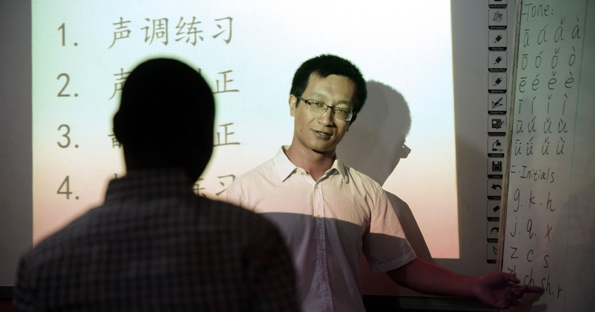 Fu Yongsheng teaches the Chinese language at the Confucius Institute at the University of Lagos on April 6, 2016.