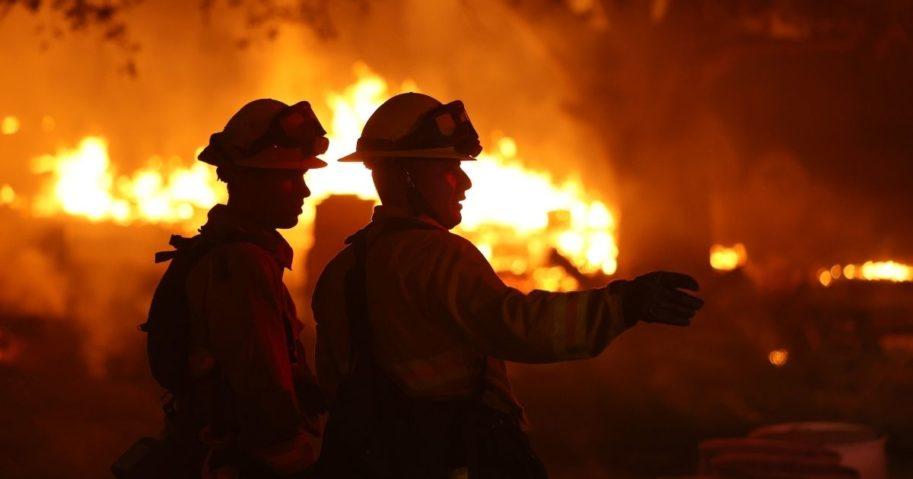 Firefighters battle a blaze on Oct. 1, 2020, in Calistoga, California.