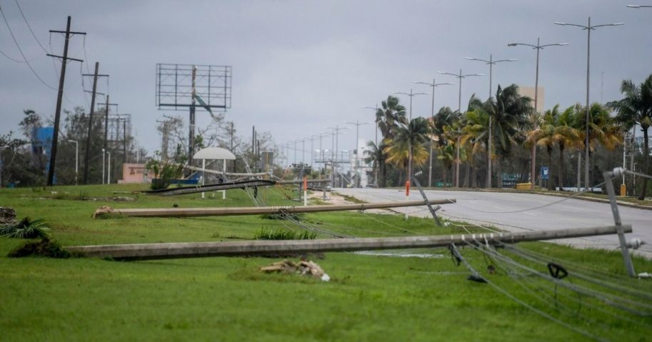 Fallen power lines are seen after the passage of Hurricane Delta in Cancun, Mexico, on Oct. 7, 2020. Hurricane Delta slammed into Mexico's Caribbean coast, toppling trees, ripping down power lines and lashing a string of major beach resorts with winds of up to 110 mph.