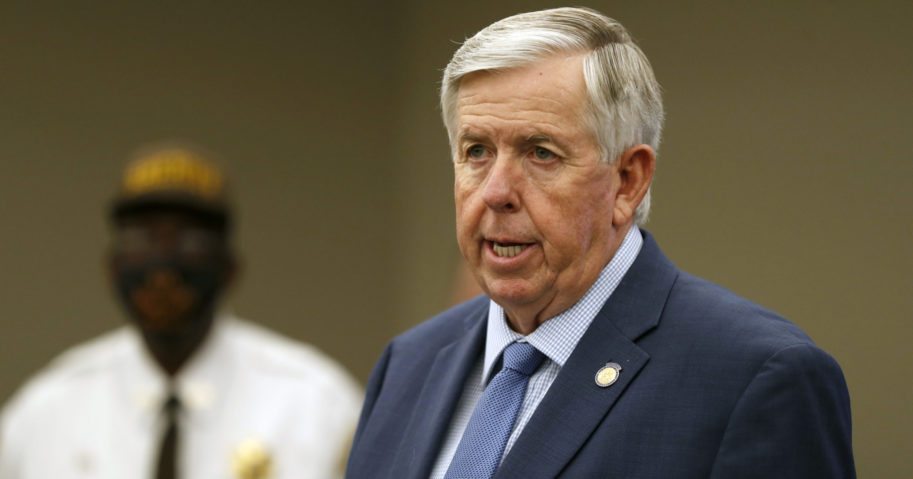 In this Aug. 6, 2020, file photo, Missouri Gov. Mike Parson speaks during a news conference in St. Louis.