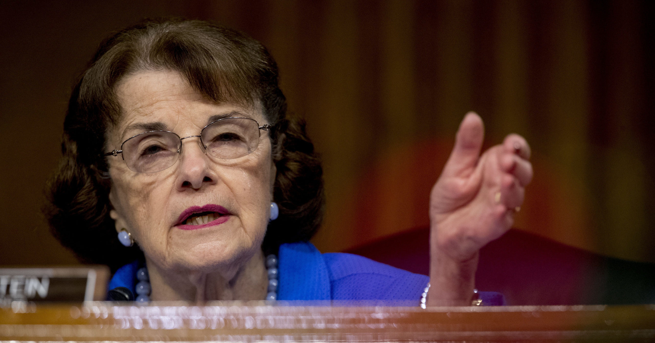 In this June 9, 2020, file photo, Sen. Dianne Feinstein of California speaks during a Senate Judiciary Committee hearing on Capitol Hill in Washington, D.C. Democrats are treading carefully on faith as they prepare to question President Donald Trump's Supreme Court nominee Amy Coney Barrett.
