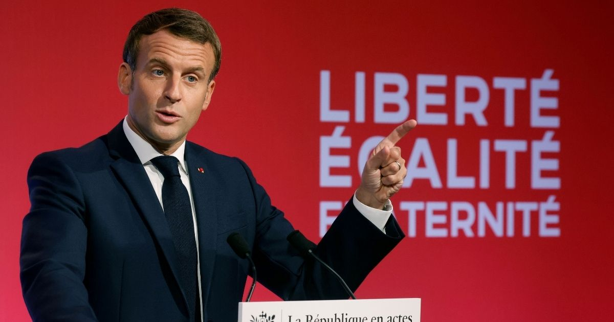 French President Emmanuel Macron delivers a speech to present his strategy to fight Muslim extremism on Oct. 2, 2020, in Les Mureaux, outside Paris.