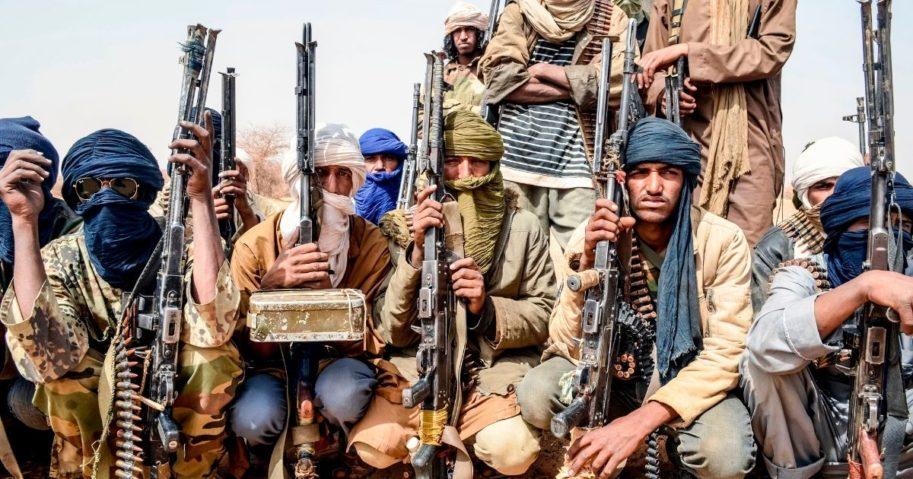 Militants patrol along the Mali-Niger border on Feb. 5, 2018.
