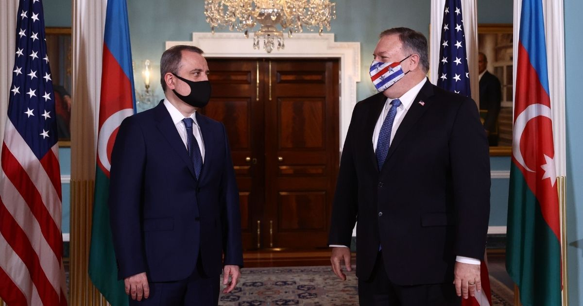 Azerbaijani Foreign Minister Jeyhun Bayramov, left, meets with US Secretary of State Mike Pompeo to discuss the conflict in Nagorno-Karabakh at the State Department in Washington, D.C., on Oct. 23, 2020.