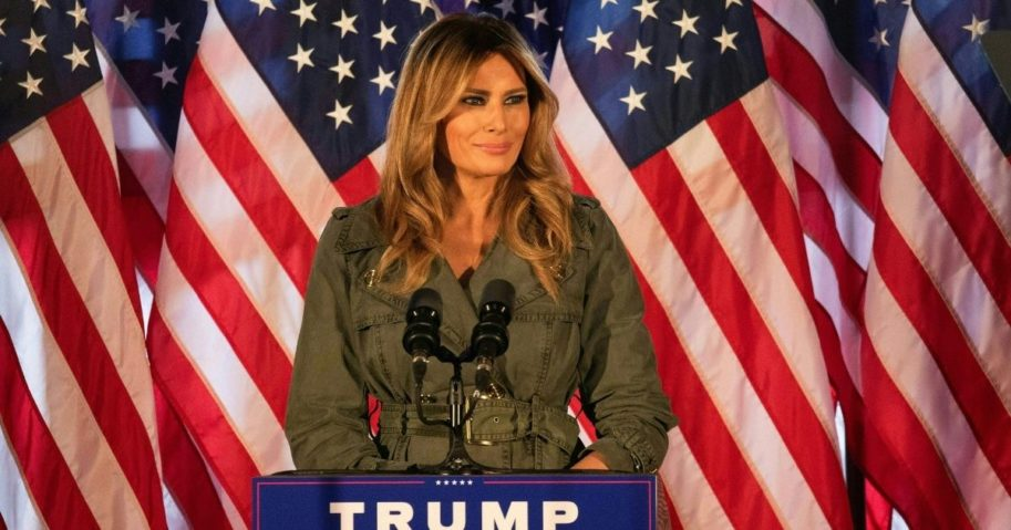 First Lady Melania Trump speaks to President Trump's supporters at a campaign event in Atglen, Pennsylvania, on Oct. 27, 2020.