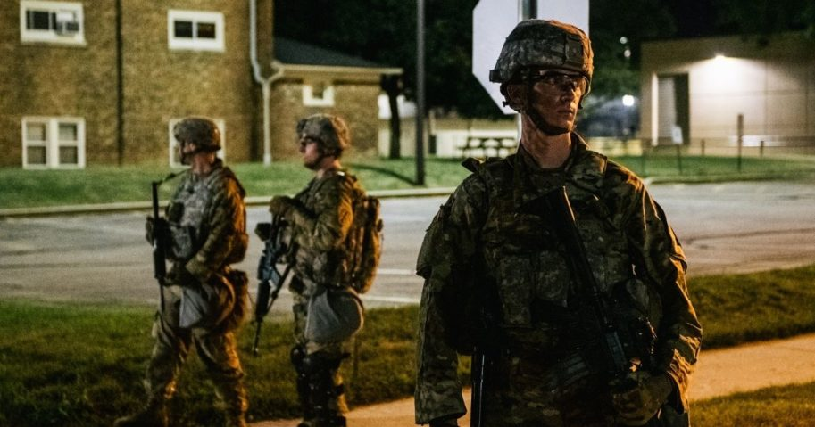 National Guard troops stand guard outside government buildings on Aug, 27, 2020, in Kenosha, Wisconsin.