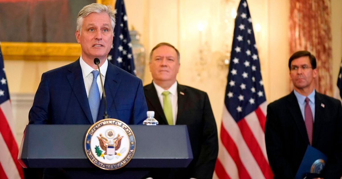 National security adviser Robert O'Brien speaks during a news conference on Sept. 21, 2020, at the US State Department in Washington, D.C.