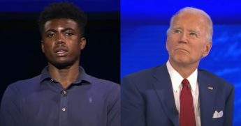 Cedric Humphrey, a student from Harrisburg, Pennsylvania, poses a question to Democratic presidential nominee Joe Biden during an ABC News town hall Thursday night.