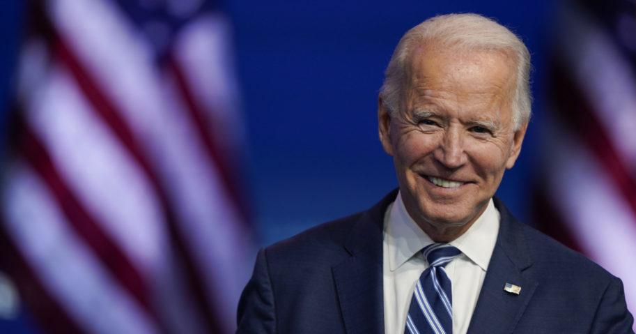 In this Nov. 10, 2020, file photo, Joe Biden smiles as he speaks at The Queen theater in Wilmington, Delaware.