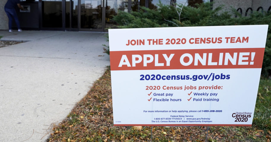 A sign is seen outside of the Illinois Department of Employment Security WorkNet center in Arlington Heights, Illinois, on, Nov. 5, 2020.
