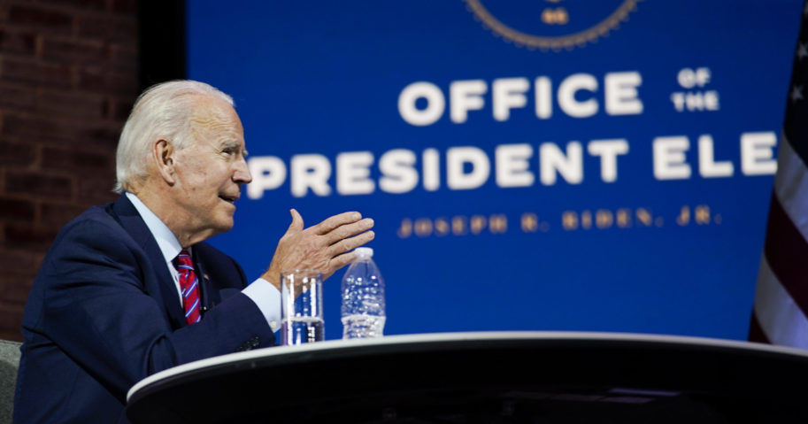 Joe Biden speaks during a meeting on Nov. 23, 2020, in Wilmington, Delaware.
