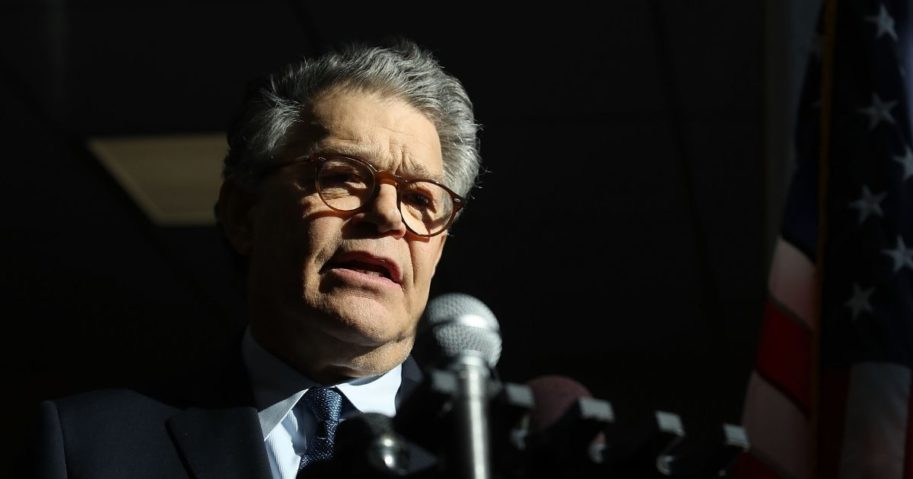 Democratic Sen. Al Franken of Minnesota speaks to the media after returning back to work in the Senate on Capitol Hill on Nov. 27, 2017, in Washington, D.C.