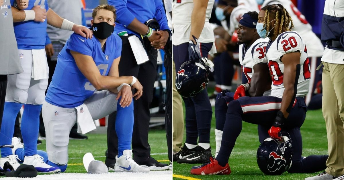 Detroit Lions quarterback Matthew Stafford, left, and Houston Texans defensive backs Keion Crossen (No. 35) and Justin Reid (20) were among the players who took a knee during the national anthem prior to a Thanksgiving Day game at Ford Field.