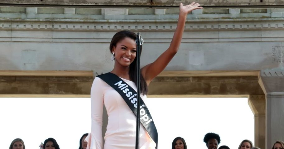 Miss Mississippi 2018, Asya Branch waves to the crowd at Kennedy Plaza on Aug. 30, 2018, in Atlantic City, New Jersey.