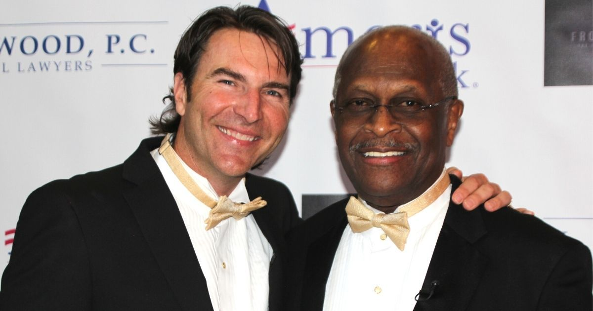 Filmmaker Barry Tolli, left, and the late Herman Cain are pictured above.
