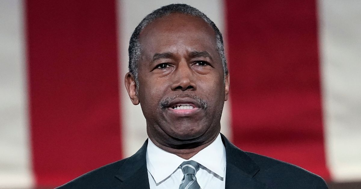 Housing and Urban Development Secretary Ben Carson addresses the virtual Republican National Convention at the Andrew W. Mellon Auditorium in Washington on Aug. 27.