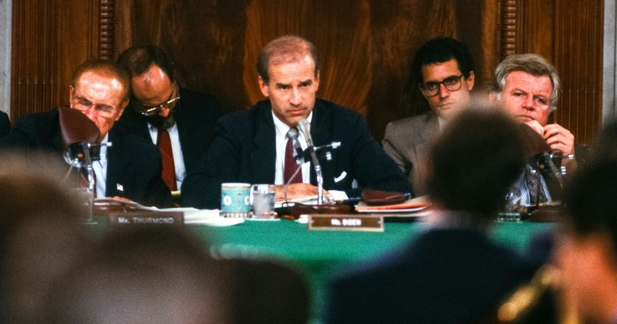Joe Biden, then chairman of the Senate Judiciary Committee, speaks during the confirmation hearings for Supreme Court nominee Robert Bork in Washington on Sept.15, 1987.