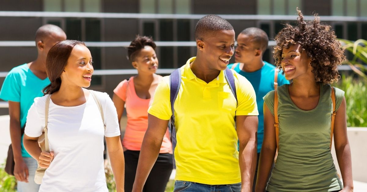 African-American college students are pictured on campus in the above stock image.