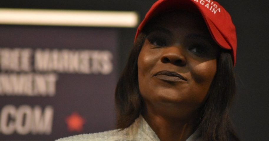 Conservative activist and commentator Candace Owens is pictured in San Marcos, Texas, during a visit to Texas State University in October 2018.