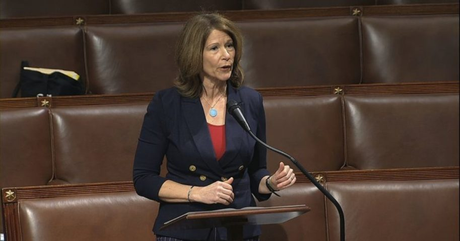 Democratic Rep. Cheri Bustos speaks on the floor of the House of Representatives at the U.S. Capitol in Washington on April 23, 2020.
