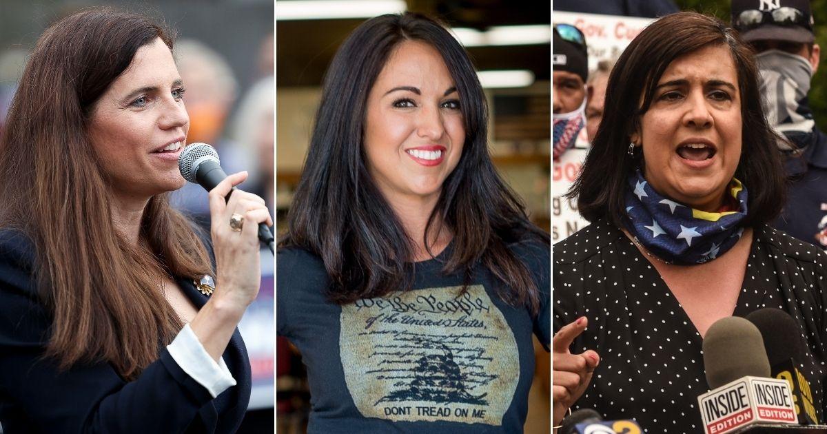 Republican congresswomen-elect Nancy Mace of South Carolina, left, Lauren Boebert of Colorado, center, and Nicole Malliotakis of New York, right, are pictured above.