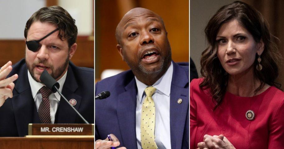 Republicans Rep. Dan Crenshaw of Texas, left, Sen. Tim Scott of South Carolina and Gov. Kristi Noem of South Dakota are pictured above.