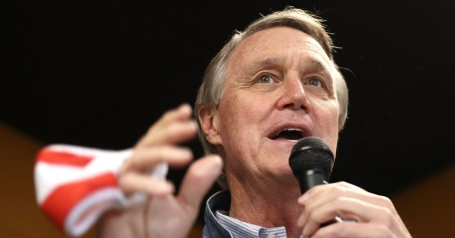 Republican Sen. David Perdue of Georgia speaks during a campaign event at Pot Luck Cafe on Oct. 31, 2020, in Monroe, Georgia.