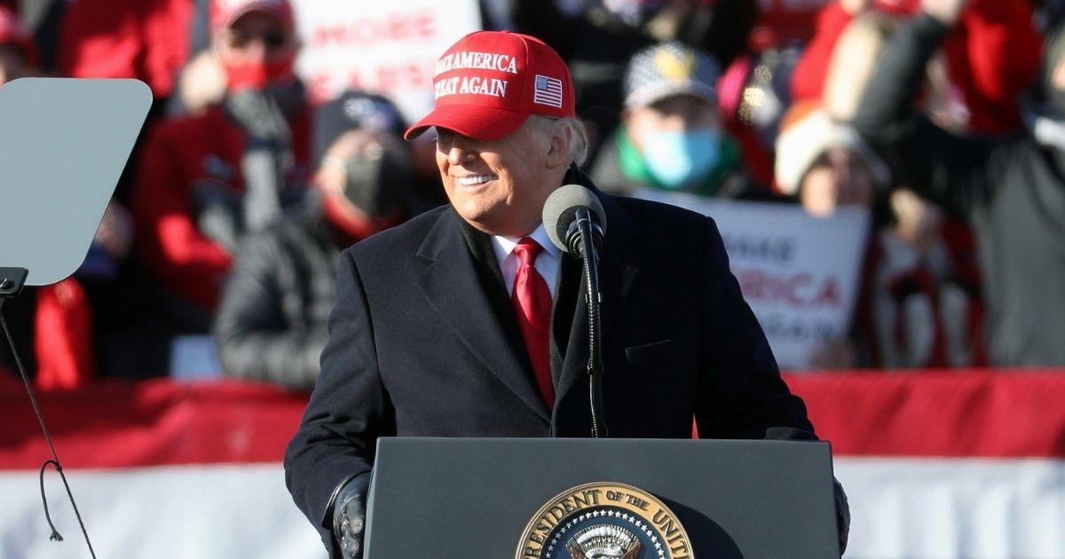 President Donald Trump speaks at a rally Monday in Avoca, Pennsylvania.